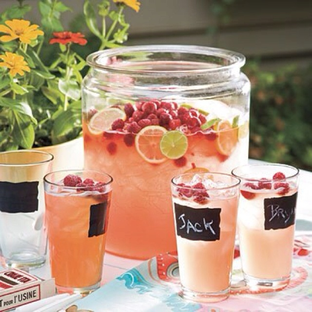 can have a huge jar of juice or fruit water for the guests and just use a ladle