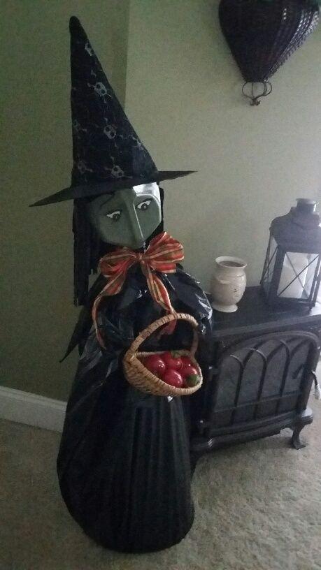 Tomato cage, milk jug witch