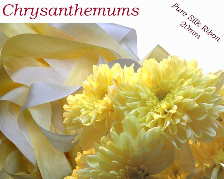 5 metres of 20mm Pure Silk Ribbon Chrysanthemums by CreativeSilkRibbon on Etsy
