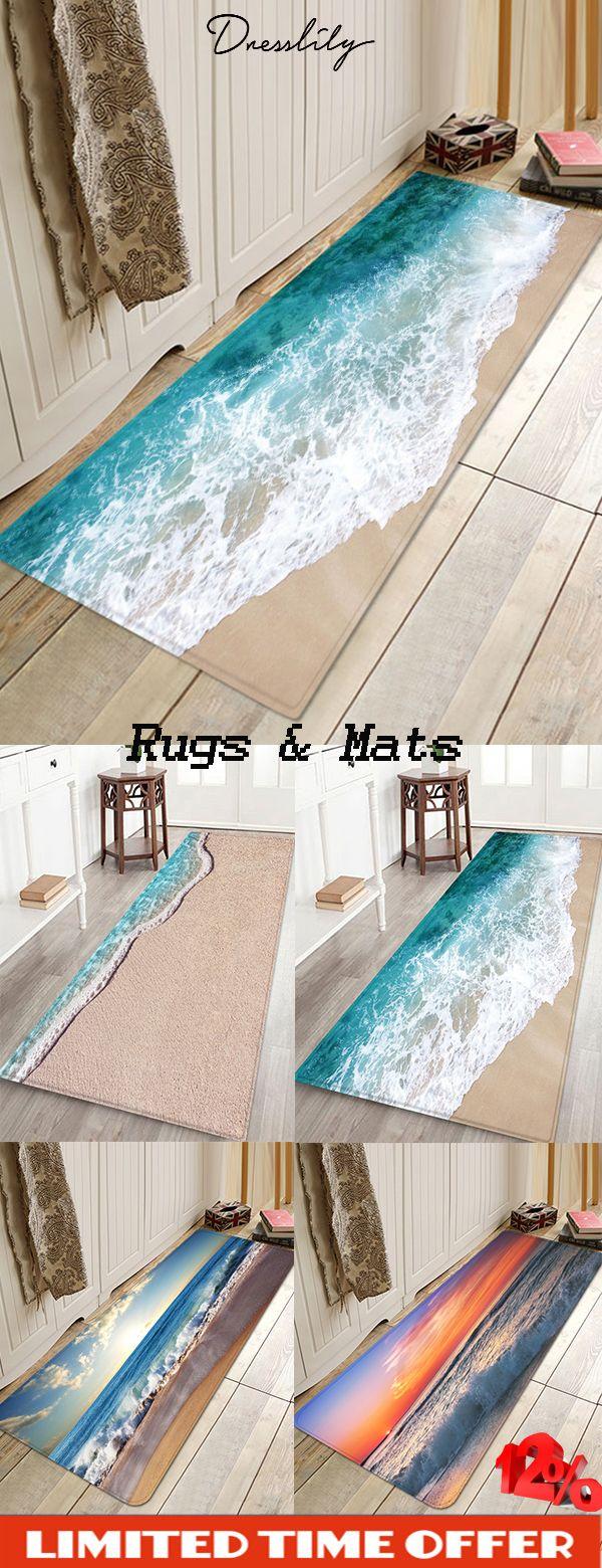 Dresslily beach sea waves print antiskid area rug….