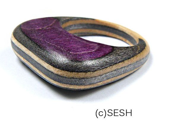Wooden Ring  Made from Recycled Skateboards by by SESHNOTSTIGMA, £8.50