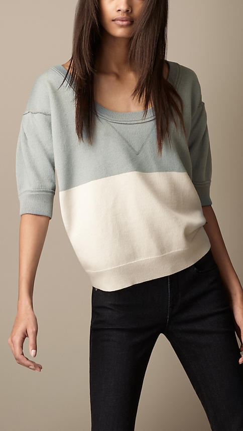 Colour Block Wool Cotton Sweater | Burberry
