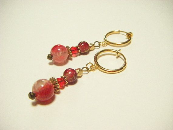 Red dangle clip on earrings red clip on earrings by Coloramelody