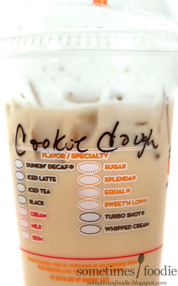 Iced cookie dough latte with sugar and milk dunkin