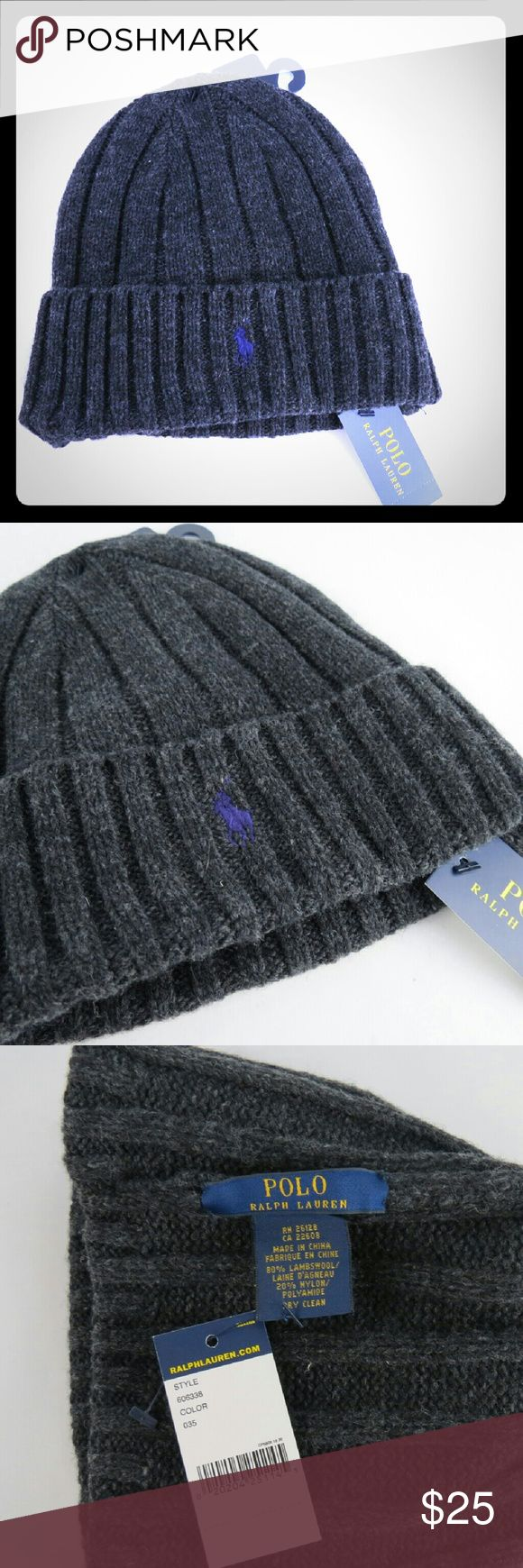 Ralph Lauren POLO Charcoal Gray Knit Cap Beanie NWT POLO Ralph Lauren Charcoal Gray knit cap, small pony purple embroidered logo, (logo looks bluer in photo than it is in real life).  80% Lambswool, 20% Nylon. Polo by Ralph Lauren Accessories Hats