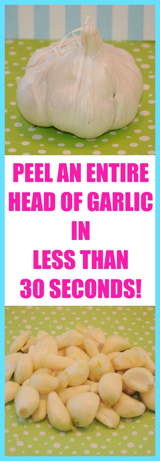 No gadgets no knives...peel an entire head of garlic in less than 30 seconds...kinda like performing a magic trick in your kitchen!