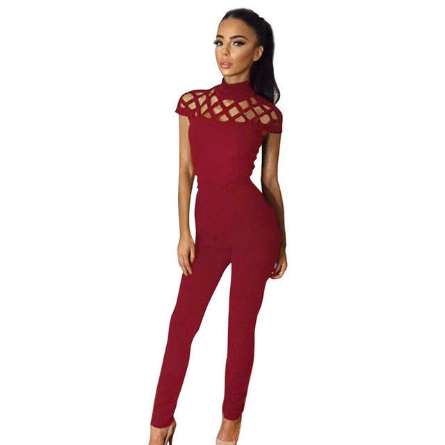 2016 Womens Choker High Neck Caged Sleeve Playsuits Long Rompers Women Jumpsuits Summer women's bodysuits #25