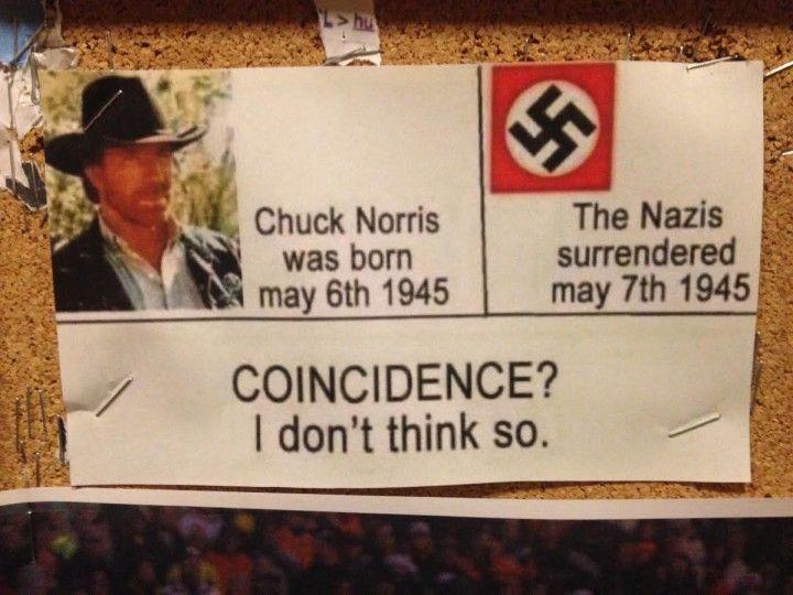 coincidence naissance de chuck norris fin des nazis