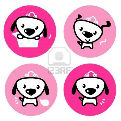 Little dog princess collection. cartoon buttons