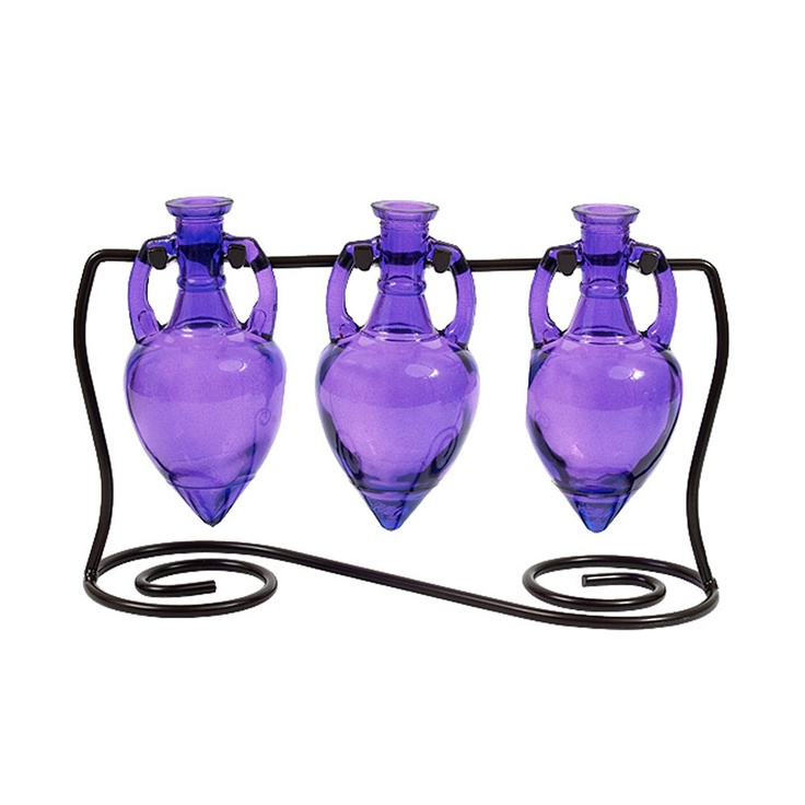 by Colorful Glass Accessories  Amphora Vases with Metal Stand, Violet