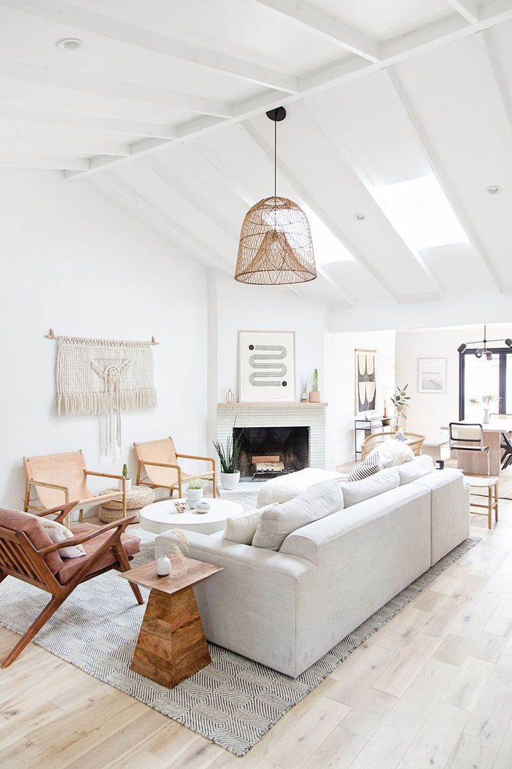 White Modern Living Room Design With Ratan Pendant Light And Wood Accent Chairs And Modern White Living Room Living Room Design Modern Best Living Room Design