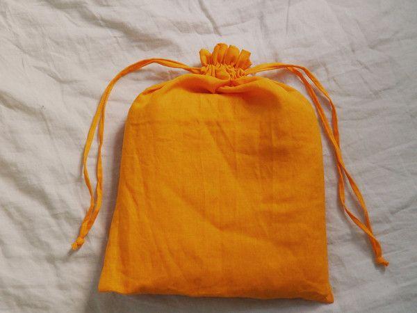 Tangerine Linen Sheet Set -  100% French flax linen