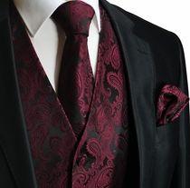 burgandy vests for men | Burgundy a. Black Men's Tuxedo Vest Set (Q20-U)