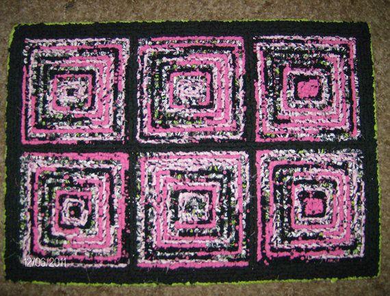 handmade locker hook rug pink black white lime by wyldchyld66 locker hooking. Black Bedroom Furniture Sets. Home Design Ideas