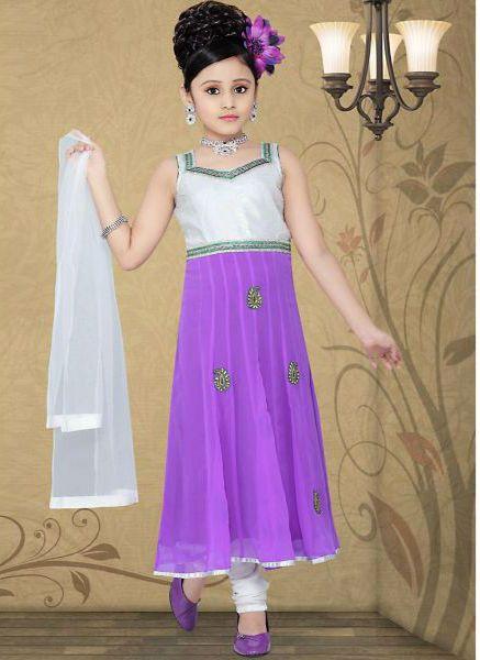 Girls White Art Silk in Embroidered Incredible Readymade Salwar Kameez