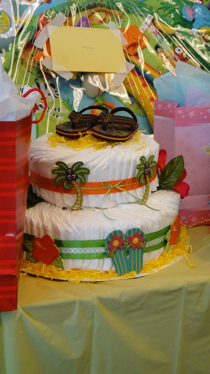 Boy Luau Baby Shower/ Diaper Cake
