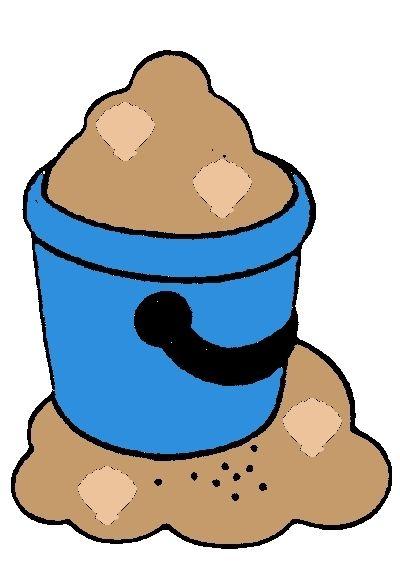Emmer zand met schelpen van telspel