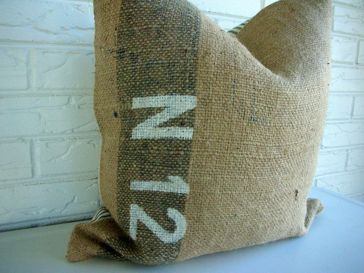 Burlap Pillow Cover - Throw - Coffee Sack Pillow - Ticking - Industrial Chic Gray Stripe ...