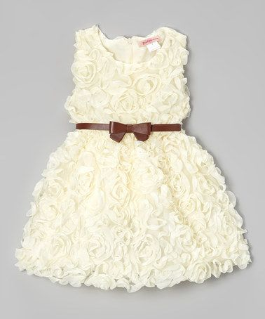 Love this Ivory Rosette Dress - Toddler & Girls by Paulinie on #zulily! #zulilyfinds