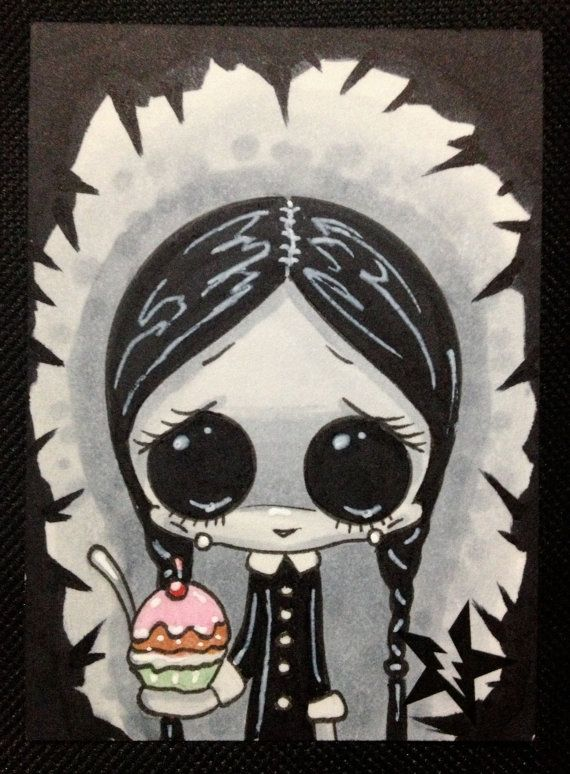 Sugar Fueled Wednesday Addams Halloween Horror lowbrow creepy cute big eye ACEO mini print on Etsy, $4.00