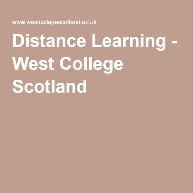 Distance Learning - West College Scotland