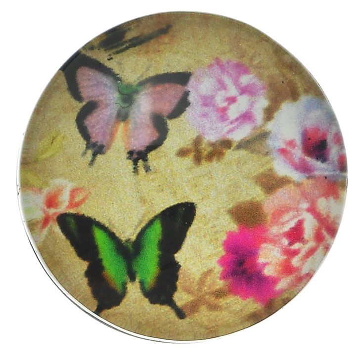 Snap Jewel Chunk Button Round Multicolor Butterfly Pattern 18mm 1Pc
