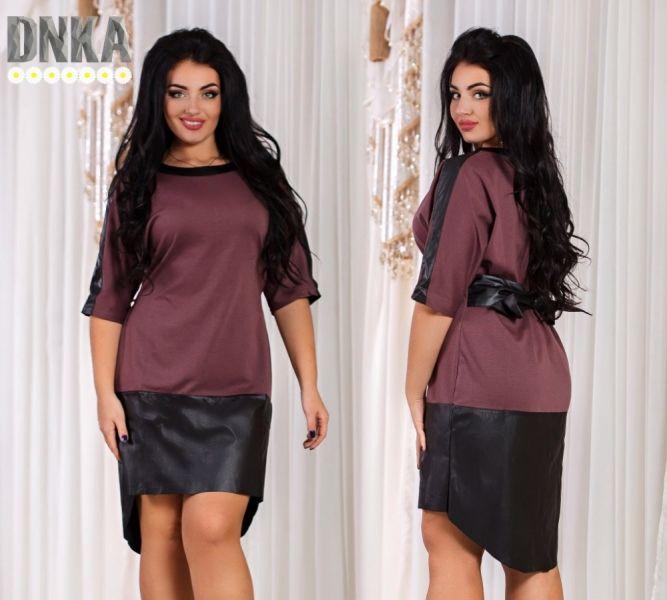 Ассиметричное платье большого размера с кожаной окантовкой шоколад