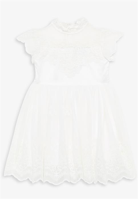 A darling dress perfect for any special occasion! Featuring a lace stand up collar, capped sleeves with scallop edging, lace applique detailing to the bodice and back, with an invisible zip closure to centre back and tulle skirt with embroidery detailing throughout! Fabric Content: Lining: 97% Polyester, 3% Elastane, Main:100% Nylon, Embroidery: 100% Cotton