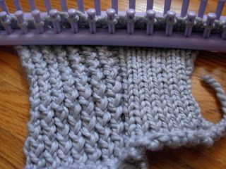 """The twisted stockinette stitch versus the stockinette stitch.  This knit piece has the same amount of rows for each side, but one can see the twisted stockinette being much looser and larger.   The left is the e-wrap, twisted stockinette stitch, and the right is the normal stockinette stitch, also commonly called a """"knit stitch"""" (k)."""
