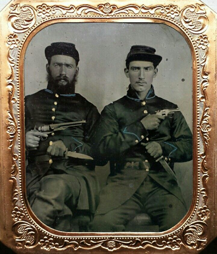 A Sixth Plate Tintype Of A Pair Well Armed Blue Bellies