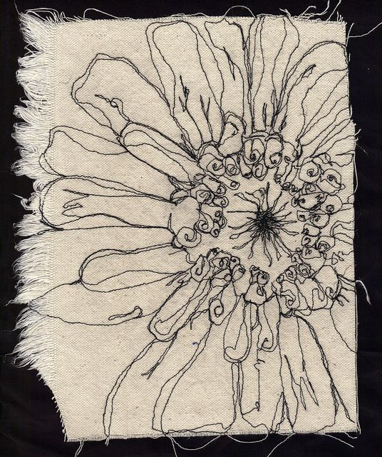 Free motion embroidery by carolbsloan, via Flickr - I love the gestural line quality
