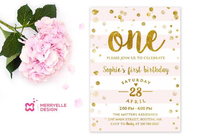 First birthday invitation template, 1st Birthday, Girls party - first birthday invitations templates