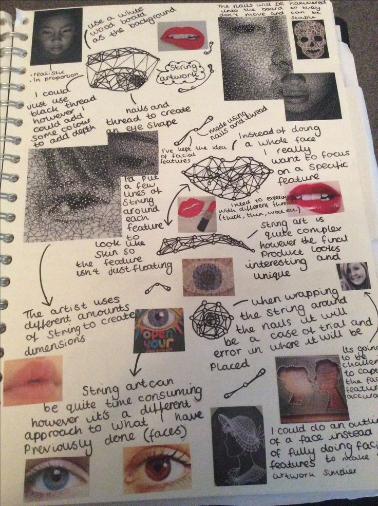 This is a page from my own sketchbook : mindmaps can be useful in showing different ideas you have. I added pictures from other artists to show what techniques I wanted to use and what I wanted to create