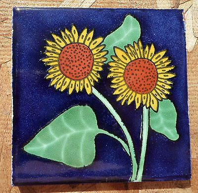 "10~Talavera Mexican 4"" tile pottery Sunflower hand made Flower Cobalt Blue gold"
