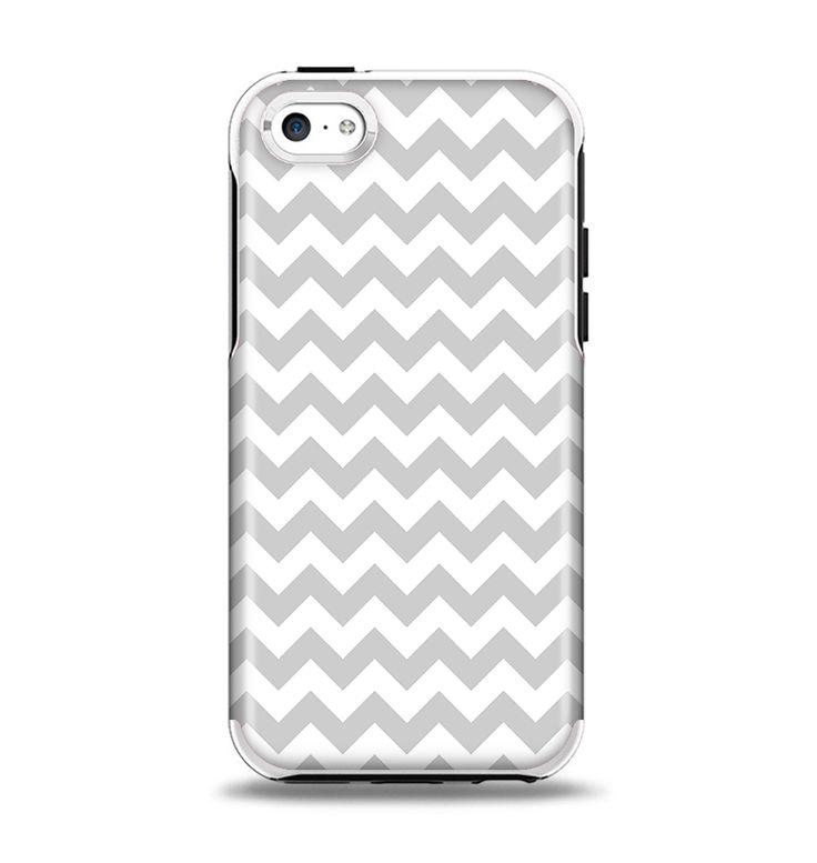 The Gray & White Chevron Pattern Apple iPhone 5c Otterbox Symmetry Case Skin Set