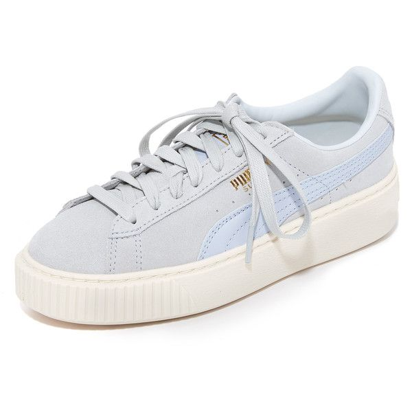 PUMA Suede Platform Core Sneakers (£78) ❤ liked on Polyvore featuring shoes, sneakers, halogen blue, lace up sneakers, metallic sneakers, suede shoes, puma sneakers and puma trainers