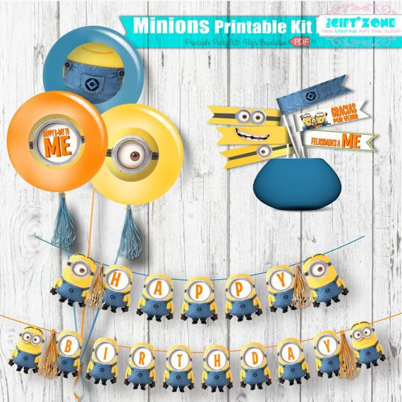 Minions Birthday Party Pack - Kids Party Digital files - Party Supplies - INSTANT DOWNLOAD - Print your Party - Minions Despicable Me Theme