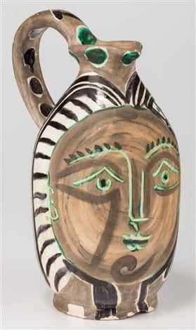 Pablo Picasso (Spanish, 1881–1973) Femme du barbu, 1953 , Terre de faïence pitcher, partially glazed
