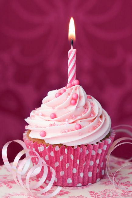Birthday Cupcakes Decorations Yummy Pink Birthday Cupcake Liner And Candle