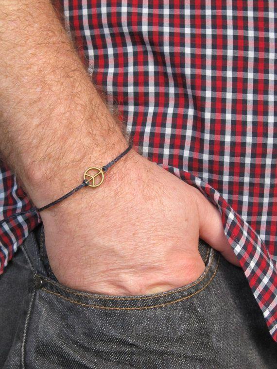 Men's peace bracelet Black cord bracelet for men bronze by MenFolk, $10.00
