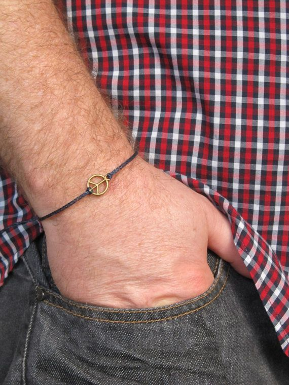 Men's peace bracelet Black cord bracelet for men bronze by MenFolk, $10.00