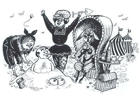 Toen groeven ze de dominee tot aan zijn nek in 't zand'. Illustratie van Wim Bijmoer bij ['Een dagje aan het strand'], gepubliceerd in Het Parool, 26 augustus 1950, later opgenomen in Het schaap Veronica (1951).
