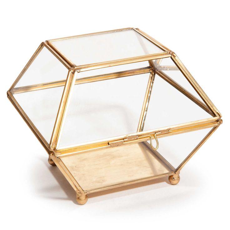 ANTIQUA gold metal and glass jewellery box
