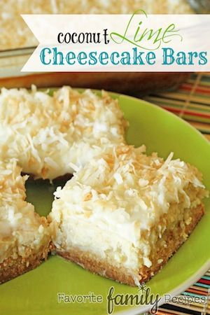 Coconut Lime Cheesecake Bars - Favorite Family Recipes