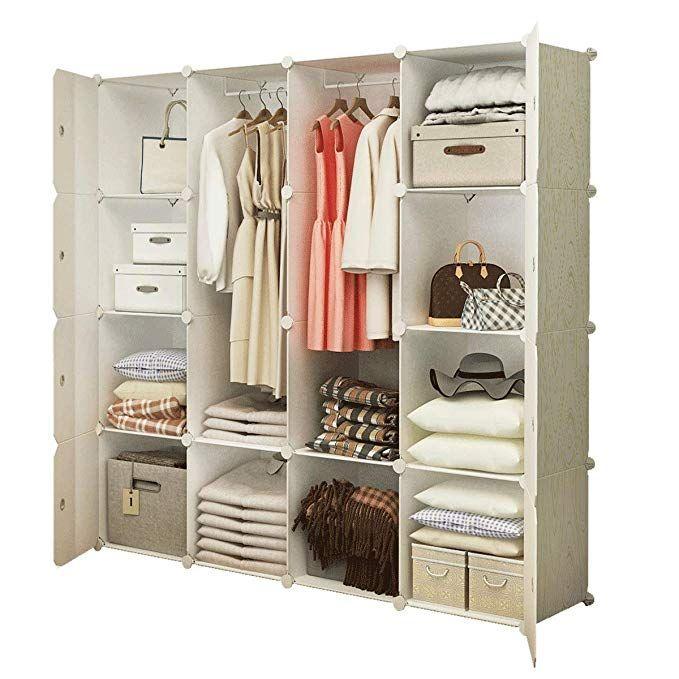 Kousi Portable Clothes Closet Wardrobe Bedroom Armoire Dresser