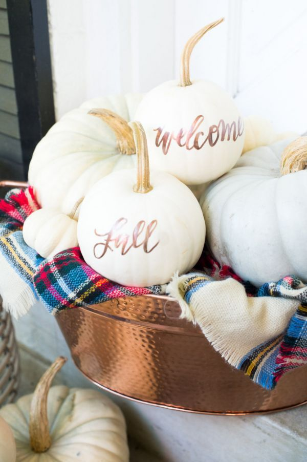 Amp up your autumn décor game with these pretty pumpkins, lettered by calligrapher Laura Hooper in colors befitting fall.