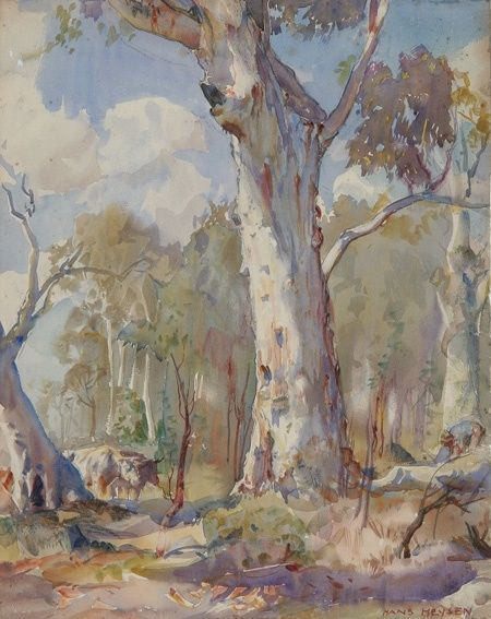 Beautiful gum trees. by Hans Heysen an Australian artist of renown who painted beautiful rural scenes.