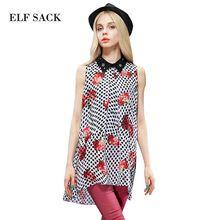 Elf SACK 2015 fashion brand new arrival summer women polka dot print chiffon shirt sleeveless turn-down collar free shipping(China (Mainland))