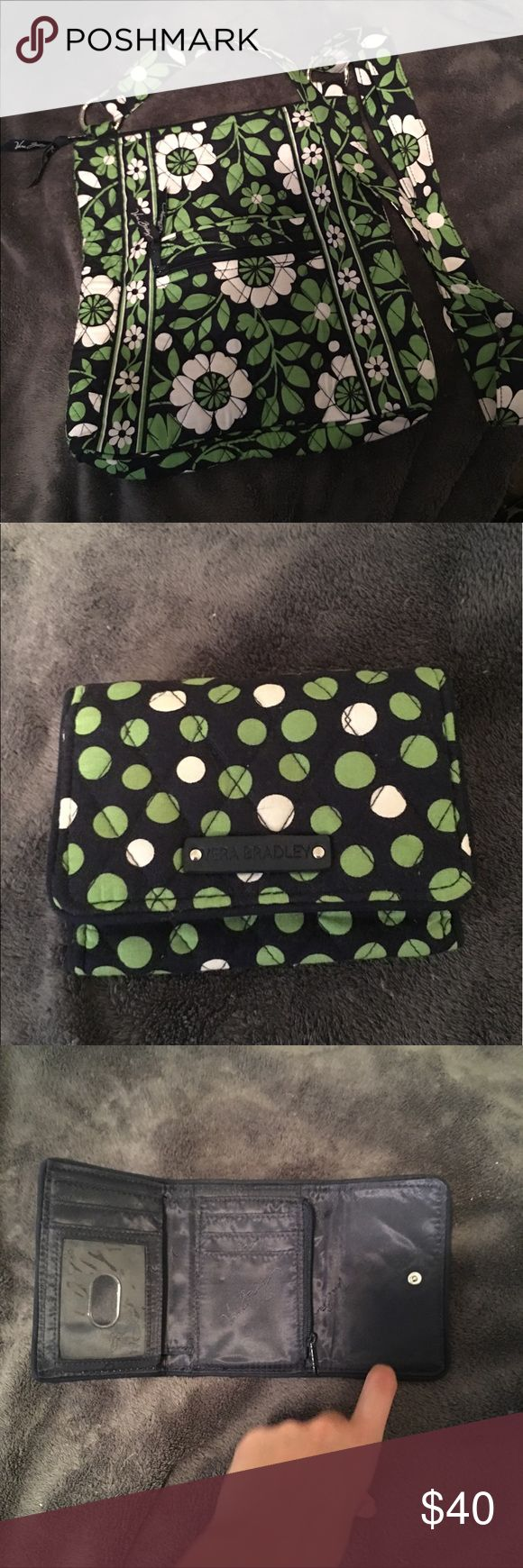 Vera Bradley Set Vera Bradley hipster and matching wallet! Perfect condition! No stains. Great for travel! Print is retired and called Lucky you. Vera Bradley Bags Crossbody Bags