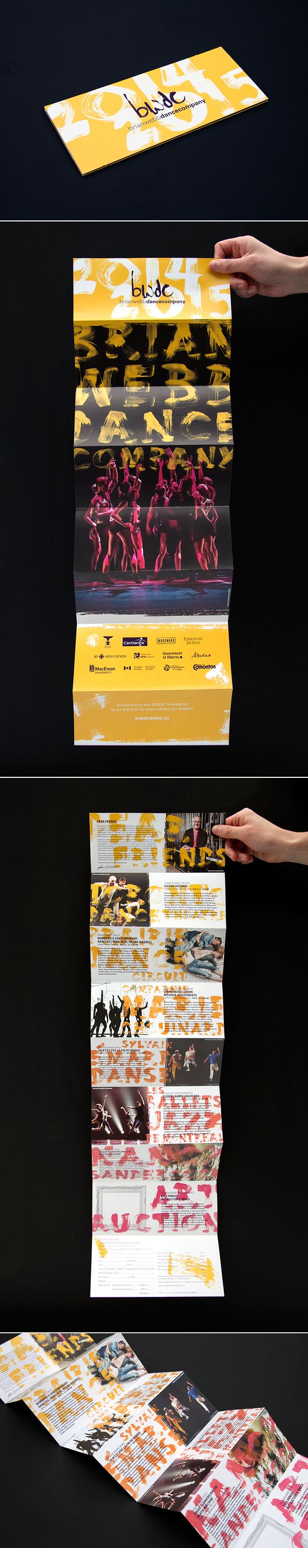 Brian Webb Dance Company 2014/2015 Season Creative for Woodward Design - Rachel Beyer - Features bright colours and hand rendered type. The brochure folds out showcasing each of the 6 dance companies. The back side showcases the dancers from Les Ballets Jazz de Montréal in a full size poster.
